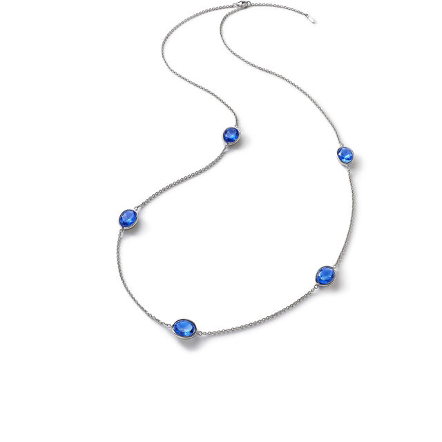 Croisé Long Necklace, Blue