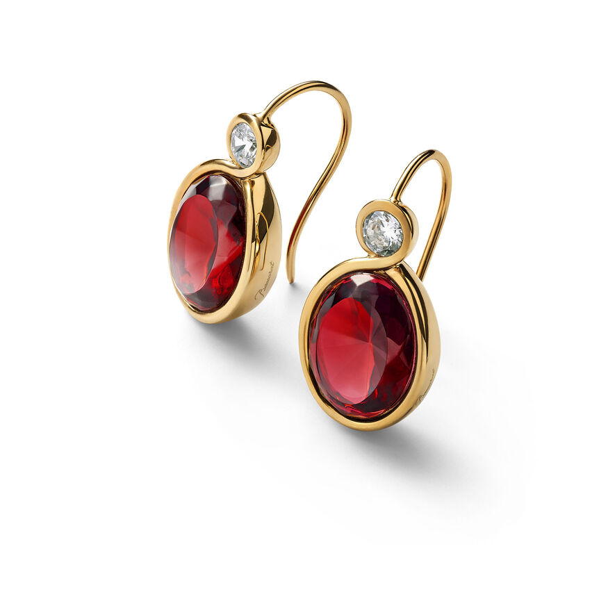 Croisé Earrings red vermeil, Red - 1